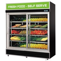 2 Sliding Door Fruit & Vegetable Display Fridge 1.8m Black