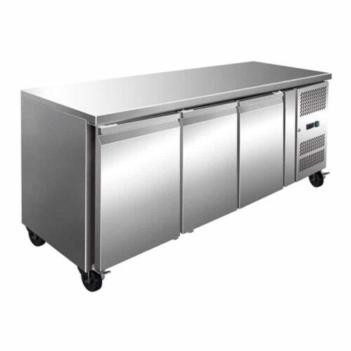 3 Solid Door Backbar Stainless Steel Storage Freezer – 1795mm wide