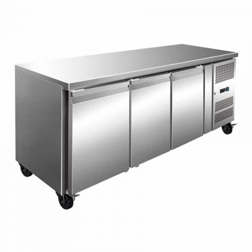 3 Solid Door Backbar Stainless Steel Storage Fridge - 1795mm wide