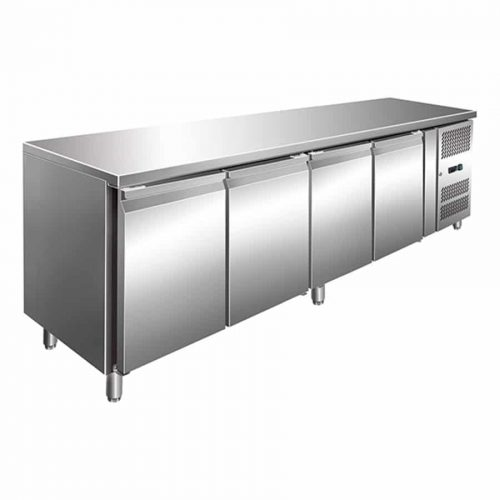 4 Solid Door Backbar Stainless Steel Storage Freezer - 2230mm wide