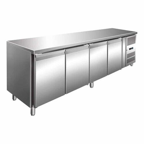 4 Solid Door Backbar Stainless Steel Storage Fridge - 2230mm wide