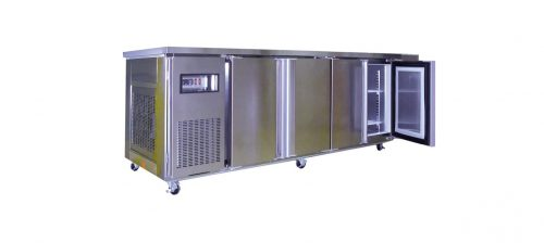 4 Solid Door Underbench Stainless Steel Storage Freezer - 2400mm wide