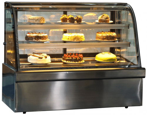 curved glass cake fridge