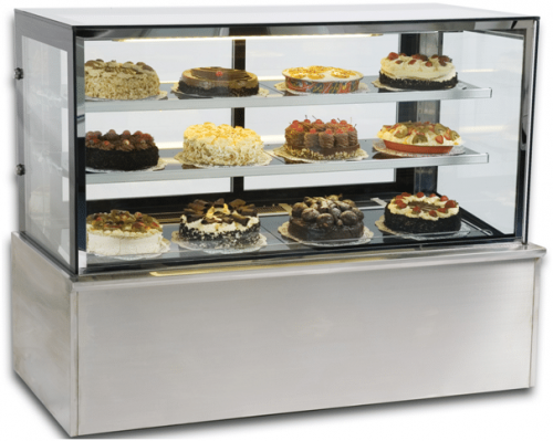 square glass cake fridge