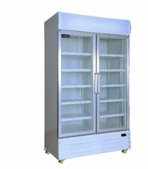Double Glass Door Upright Commercial Fridge 1000 Litres In White